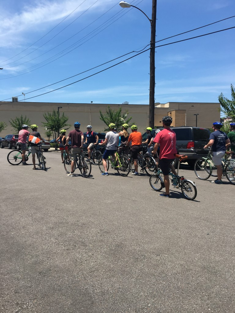 Group of bicyclers out in Memphis.